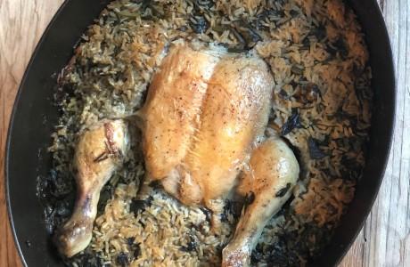 קדרת עוף, אורז ומלא ירוקים
